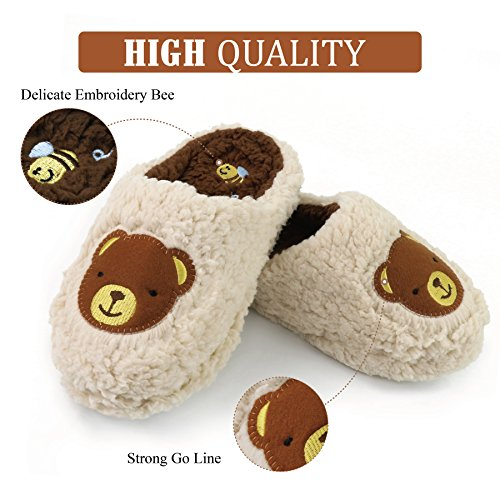Indoor Light Animal Komyufa Cozy Fuzzy Slippers Women Slipper Outdoor Bedroom Home Fur Brown House Shoes pOTPTq4x