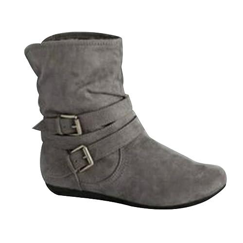 8b34dd85740 ZKOO Mujer Invierno Botas De Nieve Planas Botas de Tacón Calentar Medias Botas  Zapatos Gris: Amazon.es: Zapatos y complementos