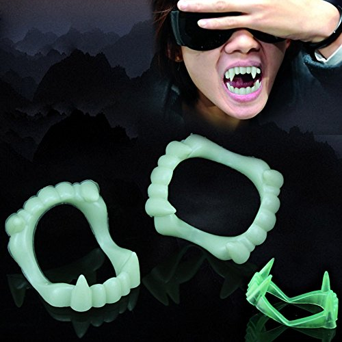 Hot Sale!DEESEE(TM)Devil Tooth Fangs Caps Zombie Vampire Dentures Halloween Party Props -