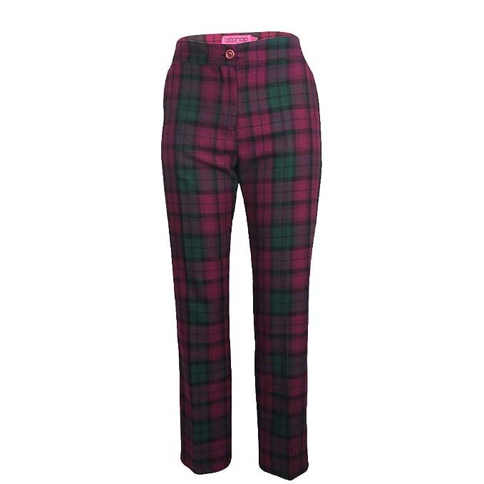 c7f20d26945e Pantaloni da donna leggings a sigaretta elastici con motivo verde scozzese  viola Plum