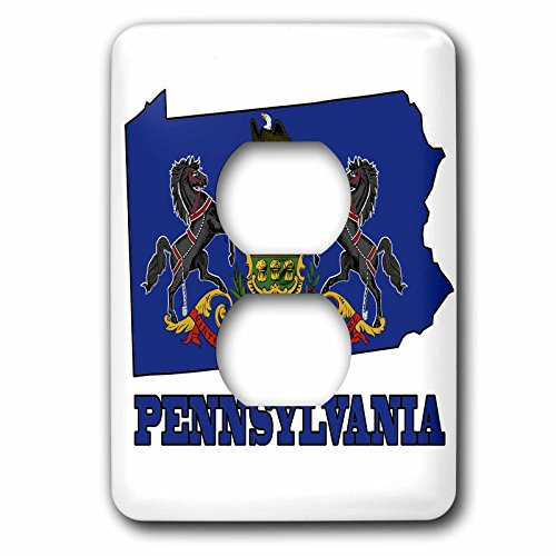 3dRose LLC lsp_58760_6 Pennsylvania State Flag in The Outline Map and Letters for Pennsylvania, 2 Plug Outlet Cover