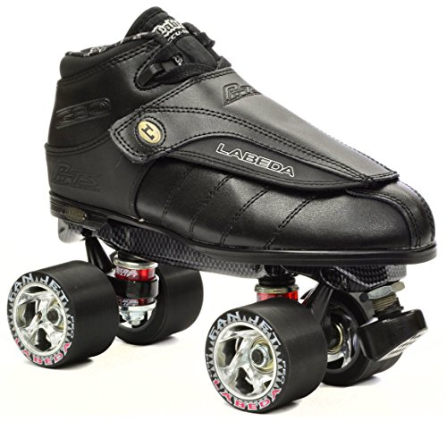 New Black Labeda G80 G-80 Knight Rider Leather Quad Speed Roller Derby Jam Skate (Mens 5 / Ladies 6) (Boot Labeda)