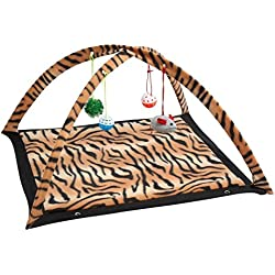 Pet Pretty Love Leopard Stripe Cat Activity Center with Hanging Toy Balls, Mice Get Exercise Best Cat Toys