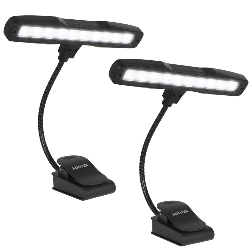 Kootek 2 Pack Clip On Reading Light - 10 LED Rechaegeable Book Lights, Music Stand Light Piano Orchestra Lamp with Adjustable Neck USB Desk Lamps by Kootek