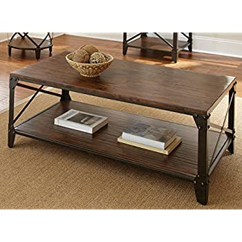Windham Solid Birch Wood   Iron Contemporary Coffee Table Rustic    Industrial Style