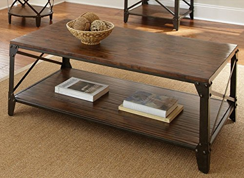 Windham Solid Birch Wood - Iron Contemporary Coffee Table Ru