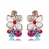 Evertrust (TM)- LZESHINE Brand Flower Earrings Rose Gold Plated White Enamel Earrings With Austrian Crystal SWA Element ER0100