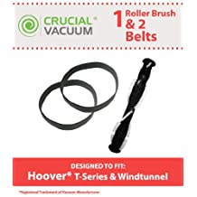 Hoover WindTunnel Replacement Vacuum Roll Brush Roller & 2-Pack Stretch Belt Kit Designed To Fit Hoover UH70120 Windtunnel T-Series , Compare To Part # 303202001, 38528058, 40201160, 562932001, AH20080, Designed & Engineered By Crucial Vacuum