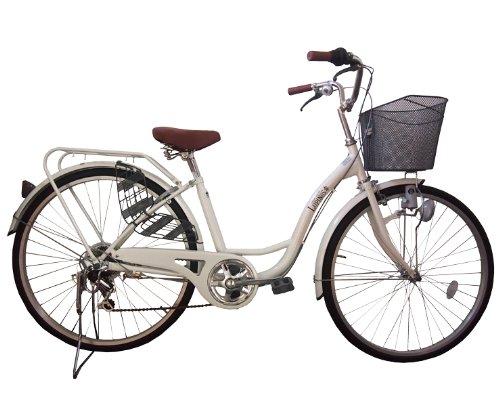 Lupinusルピナス 自転車 26インチ LP-266SD 婦人車 シマノ外装6段ギア ダイナモライト パイプキャリア 100%完成車 ホワイト
