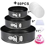"""Springform Pan Set,3 Piece 7"""" 9"""" 11"""" Leakproof Round Cake Pan Set,Wedding Cake Pan Set,Spring Baking Pan,Cheesecake Pan with Removable Bottom & Quick-Release Latch and 50 Pcs Parchment Paper"""