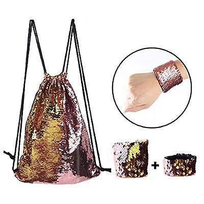 Mermaid Sequin Drawstring Backpack,Reversible Glitter Backpack,Two Wristband best