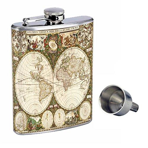 衝撃特価 Perfection Inスタイル8オンスステンレススチールWhiskey Flask with Free Funnelヴィンテージワールドマップdesign-006   B016ZJ4BHC, ヒダカシ 73c4b8bb