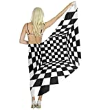 Women Scarf Large Trippy Checkerboard Shawl Wraps for Evening Dress, Wedding Party