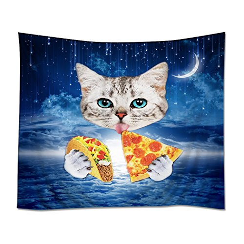 YISUMEI Tapestry Home Decorations Art Wall Hanging Hippie Tapestries 40″x 50″ Beautiful Sky Pizza Cats