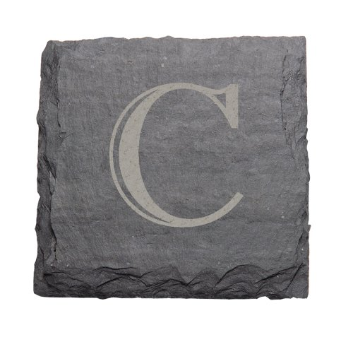 "J.K. Adams 4-Inch Square Monogrammed Initial Slate Coasters, Set of 4, ""C"" For Sale"