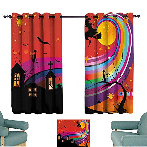 HCCJLCKS Light Luxury high-end Curtains Halloween Witch Woman on Broomstick Bats Cat Stars Rainbow Moon Castle Abstract Colorful Noise Reducing W72 xL45 Multicolor -