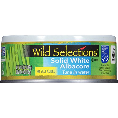 WILD SELECTIONS Solid White Albacore Tuna in Water, No Salt Added, 5 Ounce Cans (Pack of 4), Canned Tuna in Water, Tuna Fish, High Protein Snacks, Great for Tuna Salad, Gluten Free Foods Grocery ()