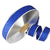 Yamalans 2M Sparkle Glitter Ribbons Christmas Fabric Roll Gift Wrapping Bag Box Packing Strap Decor Xmas Party Festival DIY Craft Decors Blue