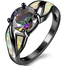 Rhodium Plated Fire Opal Cubic Zircon Wedding Engagement Anniversary Ring