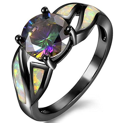 Jude Jewelers Black Crystal Fire Opal Wedding Engagement Anniversary Ring (9) - Fire Opal Crystal