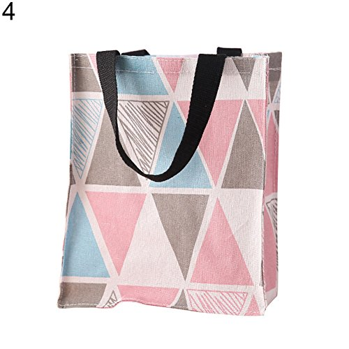 Price comparison product image angel3292 Women Girl Portable Lattice Canvas Schoolbag Shopping Bag Handbag Storage Pouch