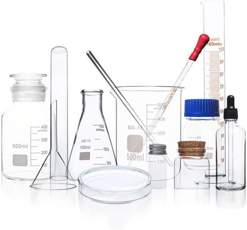 Suministros de laboratorio de vidrio químico, matraz de pipeta de plástico de alta temperatura matraz cónico resistente pipeta gotero equipo de enseñanza laboratorio