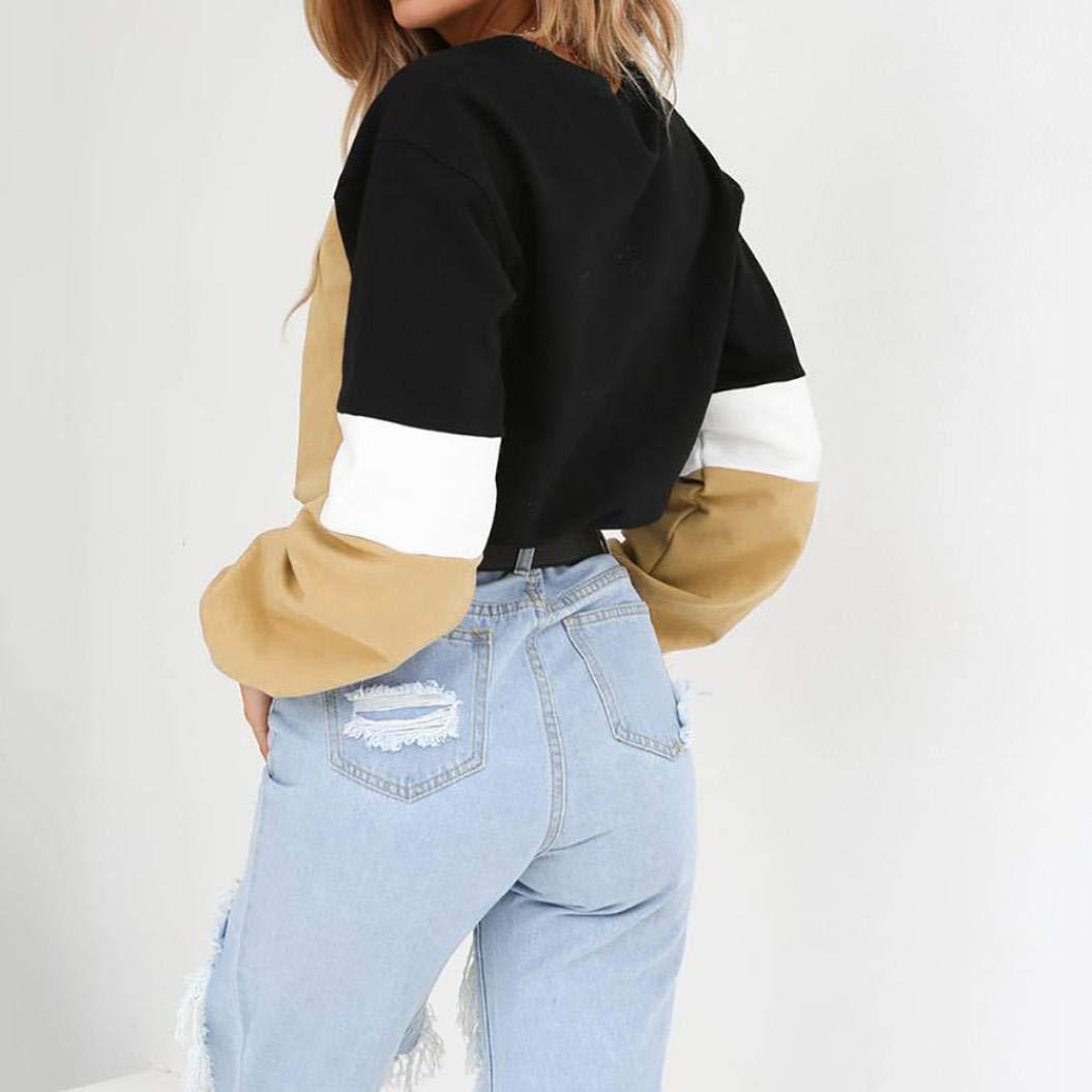 c24a2f3e9ea0 T-Shirt Damen Langarmshirt Elegant Sweatshirt Frauen Pullover Loose ...