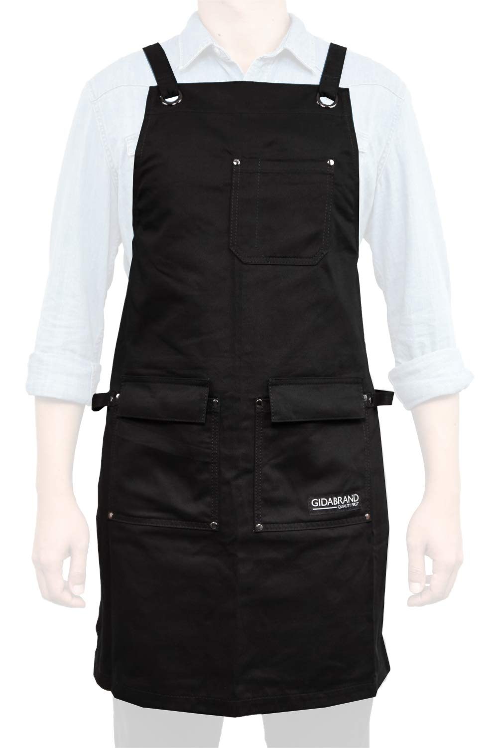 GIDABRAND Professional Grade Chef Kitchen Apron with Double Towel Loop – 10 oz Cotton for Cooking, BBQ and Grill – Men Women Design with 3 Pockets, Quick Release Buckle and Adjustable Strap M to XXL