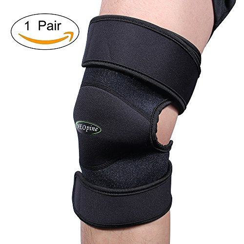 NEOpine Knee Brace Support Sleeve For Arthritis, ACL, Running, Basketball, Meniscus Tear, Sports, Athletic. Open Patella Protector Wrap, Neoprene, Non-Bulky, Relieves Pain,, Best Braces(Sold in pairs) by NEOPINE