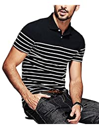 COOFANDY Men's Short Sleeve Polo Shirt Slim Fit Casual Striped T Shirt