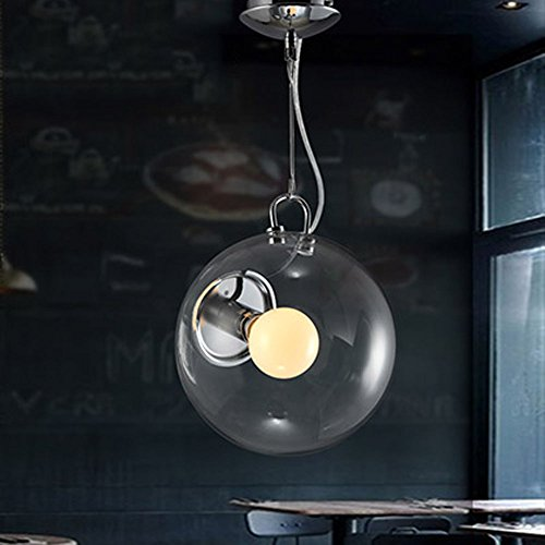 stable Designer Beautiful Bubble Pendant Lighting Ceiling Light Hanging Lamp Fixture with Clear Round Glass Shade in Vintage Style for Indoor Restaurant Barn Chrome Finished (Pendant Indoor Clear Bubble)