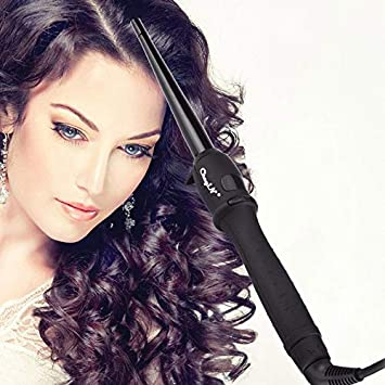 Amazon.com: 110-240V LCD Display Tourmaline Ceramic Cone Hair Curling Wand Rollers Dual Voltage Hair Styling Tool fer a boucler 19-25MM 00: Beauty