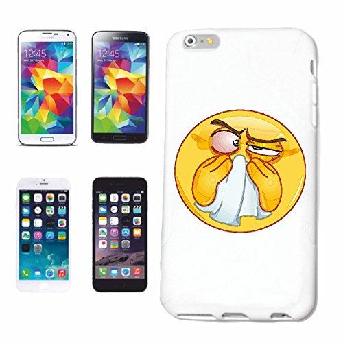 """cas de téléphone iPhone 7S """"SICK SMILEY BRUSHING LE NEZ """"smile EMOTICON APP de SMILEYS SMILIES ANDROID IPHONE EMOTICONS IOS"""" Hard Case Cover Téléphone Covers Smart Cover pour Apple iPhone en blanc"""