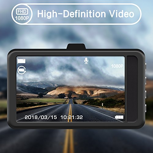 Actionpie Dash Cam X1LD, Full HD 1080P Car DVR Dashboard Camera, Loop Recording, WDR, Motion Detection, Park Monitor (black)