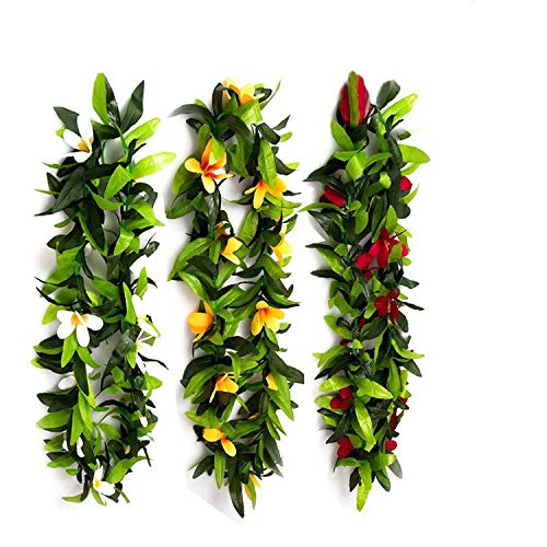 Hawaiian Luau Leis Tropical Luau Leaf Leis,Flowers Leis for Graduation,Summer Party,Luau Party Favors (3 Pack) (Hibiscus Silk Flowers White)