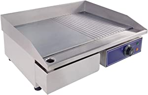 "DULONG Commercial Electric Griddle Flat Top Grill Hot Plate Stainless Steel Kitchen Grill Countertop with Thermostatic Control 2000W 22""(Half Flat Plate Half Groove Plate)"