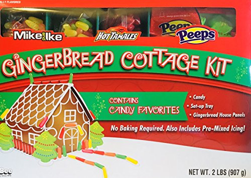 Holiday Gingerbread Cottage Kit! Choose From 3 Different Candy Themes! Includes Set-up Tray, Candy, Pre-mixed Icing, Gingerbread House Panels! (Mike & Ike, Hot Tamales, (Gingerbread Candy)