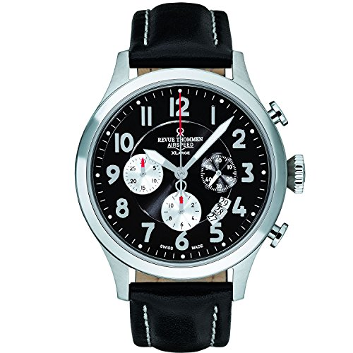 Revue Thommen Airspeed Retro XLarge 16062.6537 45mm Automatic Stainless Steel Case Black Calfskin Anti-Reflective Sapphire Men's Watch