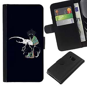 HTC One M7 , la tarjeta de Crédito Slots PU Funda de cuero Monedero caso cubierta de piel ( Bug Beetle Love White Art Colrful Girl Scarf)