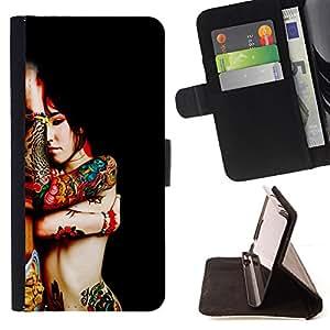 - RED ASIAN BODY COLORFUL WOMAN TATTOO ART - - Prima caja de la PU billetera de cuero con ranuras para tarjetas, efectivo desmontable correa para l Funny House FOR Samsung Galaxy A3