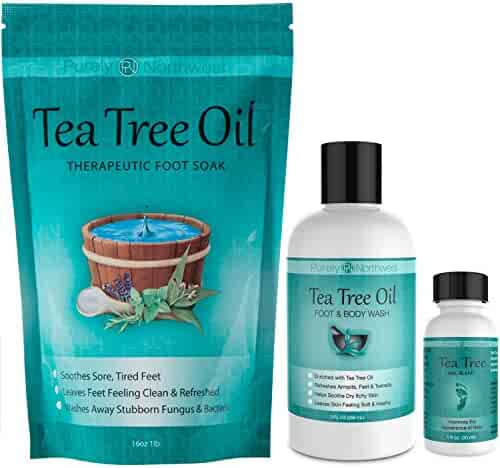 Purely Northwest Foot and Toenail System with 16 oz Tea Tree Oil Foot Soak, 9 fl oz Antifungal Tea Tree Oil Foot & Body Wash and 1 fl oz Tea Tree Nail Blend