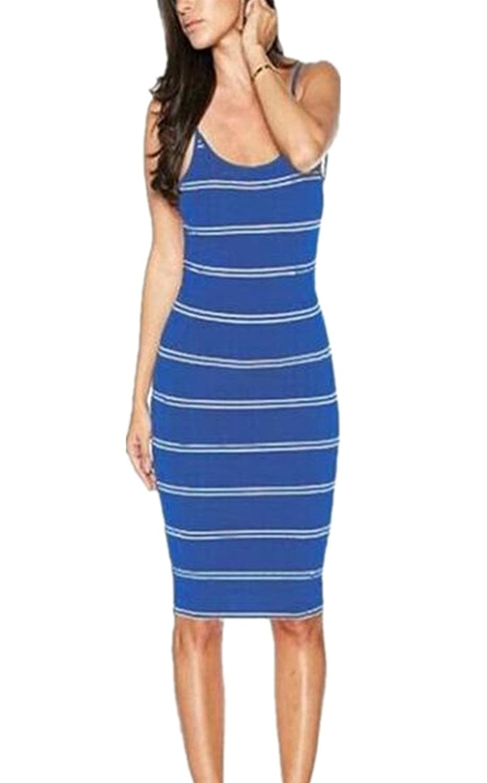 Allonly Women Spaghetti Strap Stripes Backless Bodycon buttocks Dress