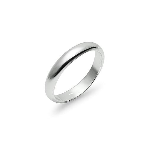 925 Sterling Silver 4mm High Polished Plain Comfort Fit Wedding Band