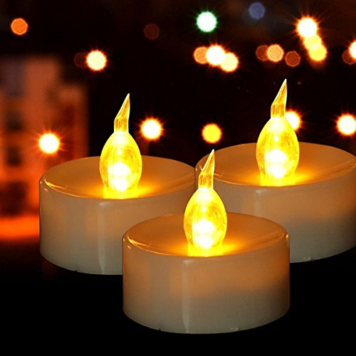6pack Tea Lights,Realistic Flickering Flameless LED Tea Lights, Warm Amber, Battery Powered Fake Candles, Ideal for Wedding, Party and Holidays, Warm Yellow (Amber Led Tealight Candles)