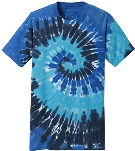 Joe's USA Koloa Surf Co.(tm) Colorful Tie-Dye T-Shirt,L-Ocean Rainbow (1970s Knit Top)