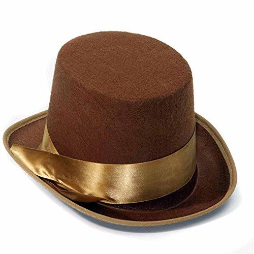 [Steampunk Brown Bell Topper Hat] (Bell Boy Hat Costume)