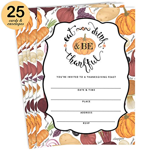 Classic Thanksgiving Meal Invites & Envelopes ( Pack of 25 ) Large 5 x 7