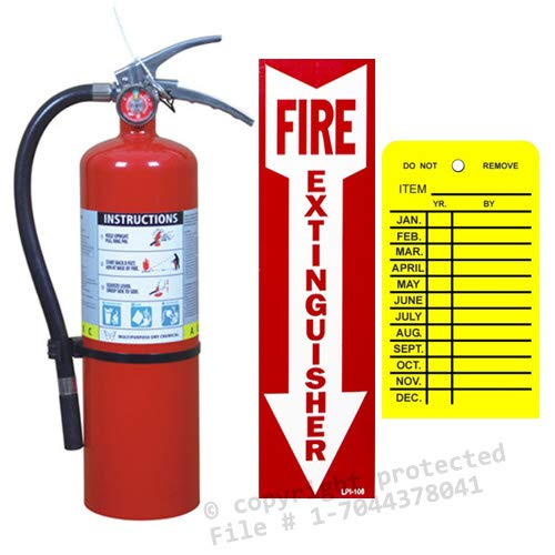 10 Lb. Type ABC Dry Chemical Fire Extinguisher with Wall Hook and Inspection Tag