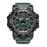 DIVER's WATCH,Digital Mens Sports Watches - Outdoor Waterproof Sport Wrist Watches With TPU Textured Strap,LED Backlight,Big Face Military Watch,Armygreen