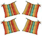 Set of 4 - Indoor / Outdoor Coral, Yellow, Turquoise Bright / Colorful Stripe Universal Tufted Seat Cushions with Ties for Dining Patio Chairs - Choose Size (17